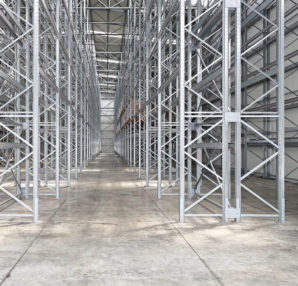 A heavy-duty stainless-steel shelving system